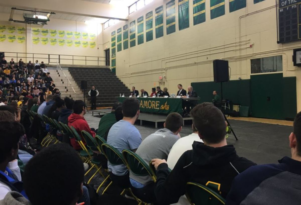 JUST SAY 'NO.' On April 7, students who were present at school witnessed a documentary and listened to an expert panel on the dangers and effects of heroin. The panel has visited various schools to impart the severity of the heroin epidemic. Their goal is to raise awareness early on in order to combat the issue before it starts.
