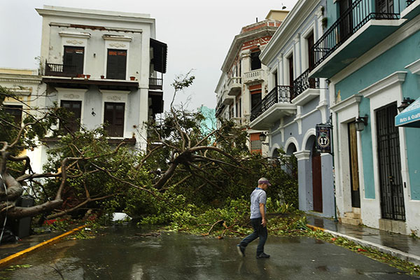 DESTRUCTION. The narrow streets of Old San Juan have debris strewn everywhere. Before Hurricane Maria hit, San Juan was filled with restuarants, markets, and beaches making it a popular tourist destination.  However, residents here are in better shape than rural towns.  Photo courtesy of MCT Campus.