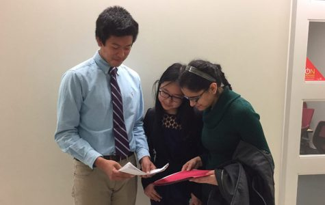 GET READY. Last year, seniors Harsimran Makkad, Jenna Bao, and Nathan Zhang, pictured, all went to Regionals; this was also the first time a multimedia project was submitted to Regionals, which was created by senior Natalie Brinkman. Eight papers went along with Brinkman.