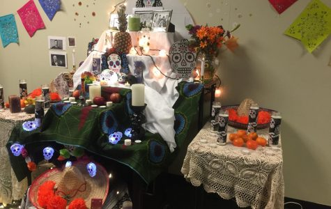 WELCOME. Vanags' altar is directly outside her classroom. Her two AP Spanish classes worked together to create the altar. It is built on top of a table, a couple of desks, and some boxes that are all covered with a decorative table cloth.
