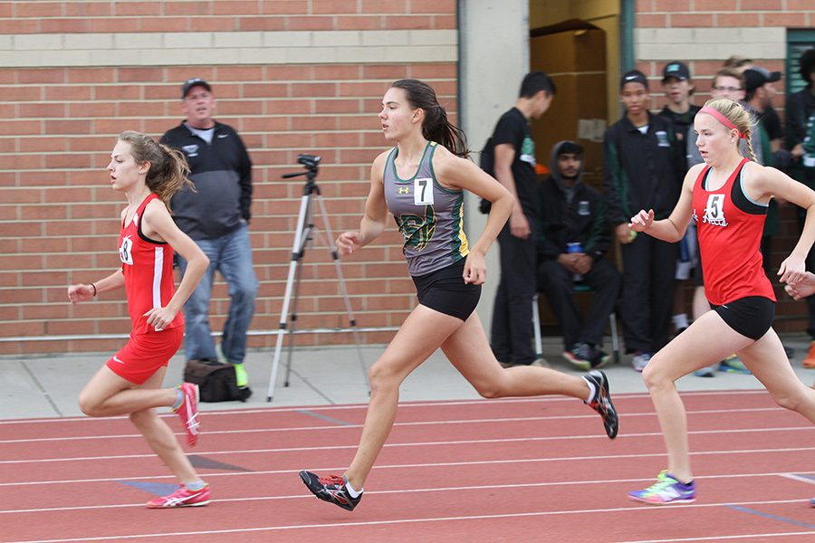 FIGHT ON. Senior Jodie Lawson races at the 2017 spring track GMCs. Not all of the track team qualifies to compete at GMCs, so this is an honor Lawson hopes to earn again.