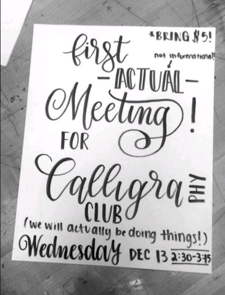 JOIN. Sophomore Linya Guo designs and letters the club fliers herself then makes copies to hang up around school. Guo is president of the new Calligraphy Club at SHS. Dues for Calligraphy Club are $5 for the entire year; meetings are every Wednesday after school in room 148.