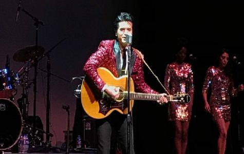 """ELVIS PRESLEY. On the stage, Dean Z, an Elvis impersonator, performs for the School of Creative and Performing Arts (SCPA) fundraiser. Dean Z. is singing """"Stand by Me"""" by Ben E. King. """"This is where we want to help,"""" said Larry Burgmen, co-chairman of the fundraiser."""