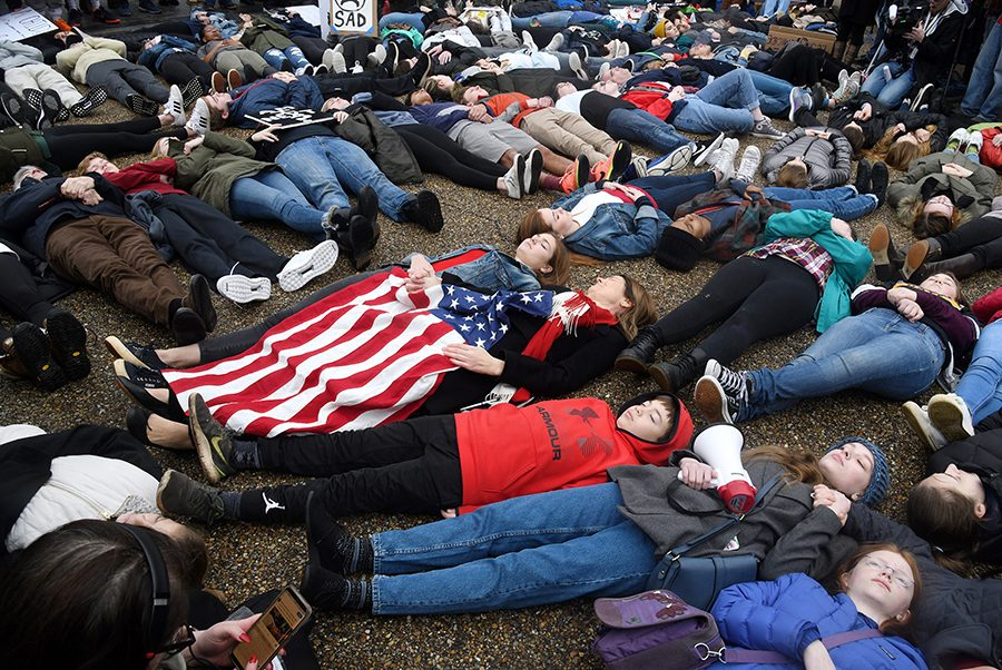 CHANGE. On Feb. 19, students from Marjory Stoneman Douglas organized a lie-in in front of the White House. The group, Teens for Gun Reform, was surrounded by supporters with signs. Despite the President not being present, it was a major event asking lawmakers to pass stricter gun control laws.