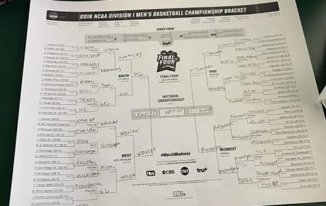"""BRACKET. During March Madness, watchers fill out a bracket to predict games. Over 10 billion dollars are made from illegally betting on these games. """"I don't really watch basketball, but I like filling these brackets out,"""" said Sophia Muhleman, 9."""