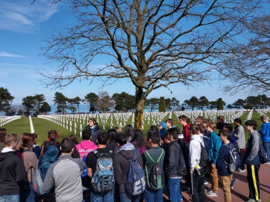 HONOR. AP European History students honor America's fallen at the Normandy American Cemetery. This was one of the stops they made during their trip to Europe, which lasts over a week. They previously visited Paris, where they toured places such as the Eiffel Tower and the Louvre.