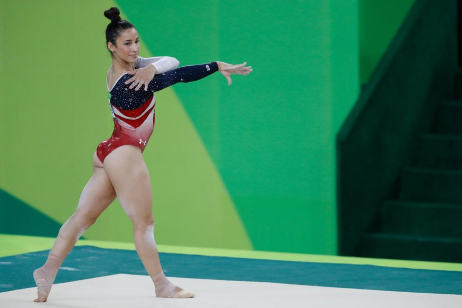 OLYMPIAN.+Raisman+competes+on+floor+during+the+Rio+Olympics.+She+won+a+silver+medal+for+this+event.+Raisman+is+inspiring+all+women+involved+in+the+%E2%80%98me+too%E2%80%99+movement.+