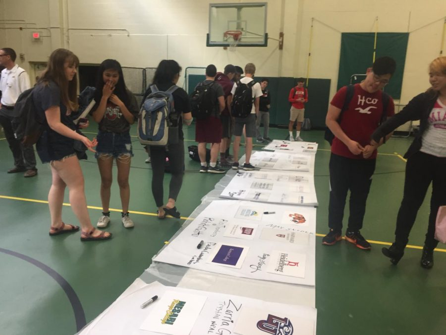 BIG DAY. Each year in the spring, seniors have an assigned day to wear their college spirit wear. They also sign their names under their school on signs that will hang up in the building. It is an exciting day for seniors to celebrate their accomplishments.
