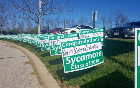 FINAL COUNTDOWN. Every year, the senior class gets yard signs with their names on them. They are currently displayed in the senior parking lot, greeting the class of 2018 back from Senior Skip Day. At the end of this week on Launch Day (May 4), seniors will be wearing gear announcing which colleges they will attend next school year.