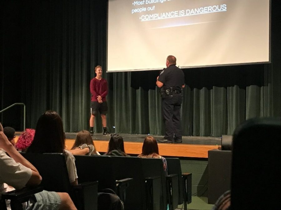 On Sept. 19, juniors and seniors attended an ALICE training assembly in their perspective ace bells. Freshman and sophomores went through the training earlier in the week. ALICE (Alert, Lockdown, Inform, Counter, Evacuate) training teaches students what to do in emergency situations such as an active shooting. At one point in the senior assembly, senior Jackson Rudd was invited on stage to take part in a demonstration.