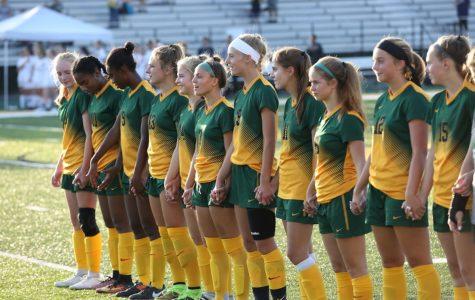 Girls Varsity Soccer plays, bonds