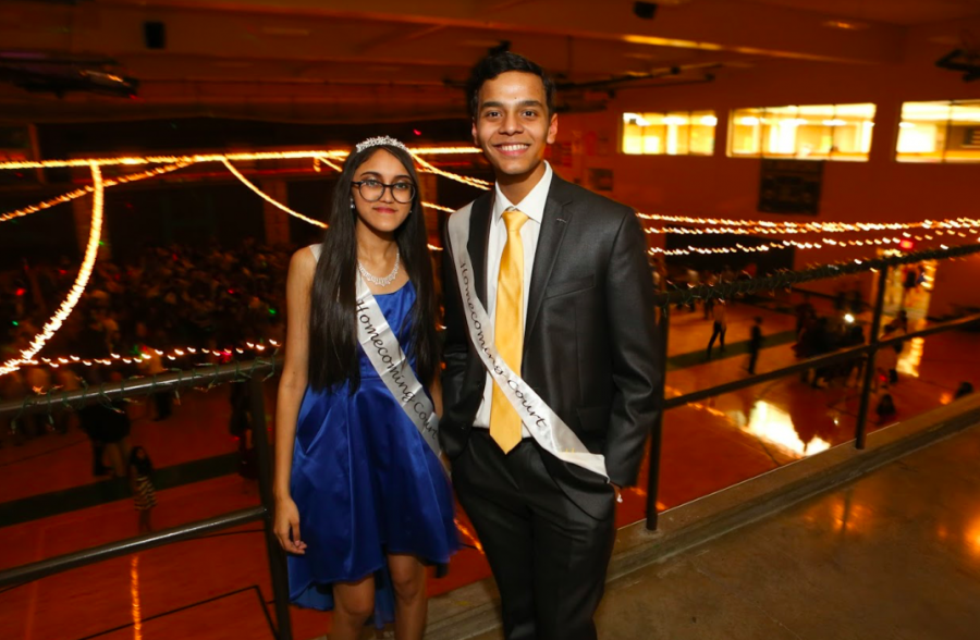 TRUE+ROYALTY.+Sophomore+Homecoming+Prince+and+Princess+Niyati+Kanchan+and+Aryan+Vidya+pose+for+a+photo+on+the+balcony+at+the+Homecoming+Dance.+%E2%80%9CMy+friends+were+super+supportive+and+seemed+like+they+wanted+%5Bme+to+win%5D+more+than+I+did%21%E2%80%9D+Kanchan+said.