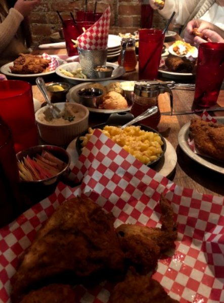 """CELEBRATION. The chicken was freshly made with an amazing juicy crust. Iced Tea was a perfect pairing for the dish. """"It was delicious"""", said Ally Zimmerman, 11."""