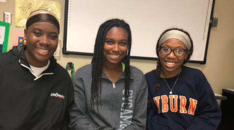 Pictured from left to right: Young Scholars President Nia Jeter, Vice President Megan Oduyoye, and Communications/Public Relations Officer Autumn Forte.