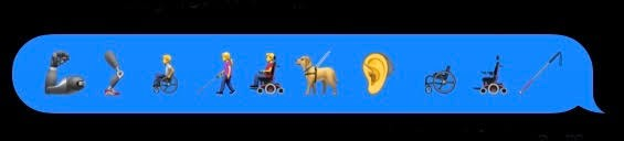 These are some of the 67 new disability-related emoji introduced in iOS 13.2. These images, which include people using wheelchairs and a white cane, prosthetic limbs, and a hearing aid, are an important step towards greater representation.