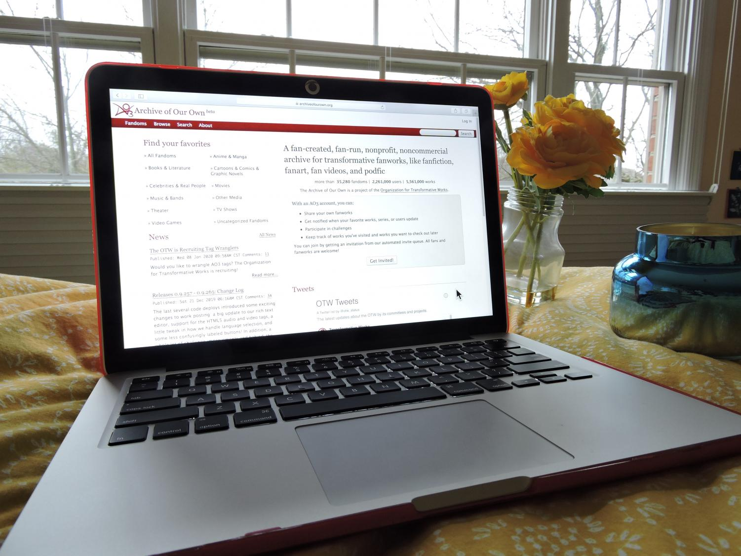 "FIC BREAK. A laptop open to fanfiction site Archive of Our Own, also known as ""AO3,"" which is the host to most prominent fic authors and my personal favorite place to read fanfiction. Many fic authors also link their work on other sites like Tumblr and Instagram, which allows fellow fans to share and discuss fics."