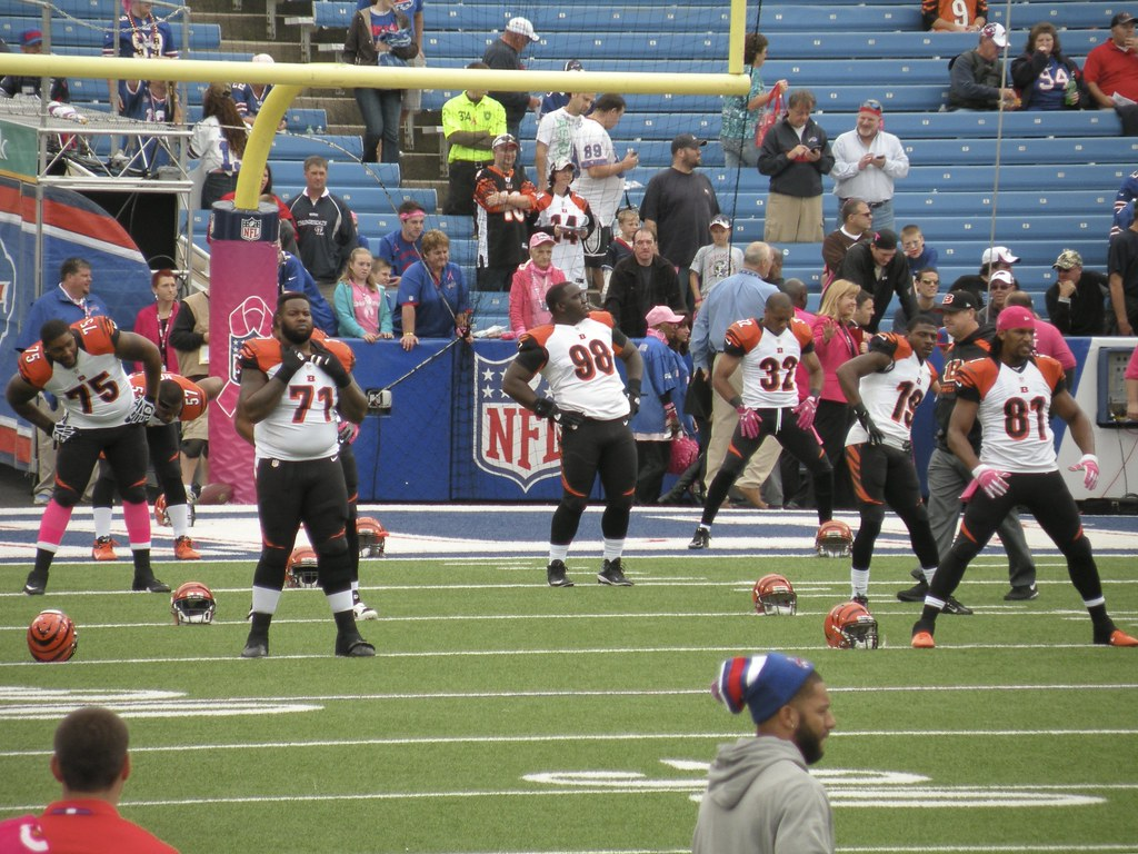 BENGALS. Pictured above, players stretch before a game as they continue on the NFL season.