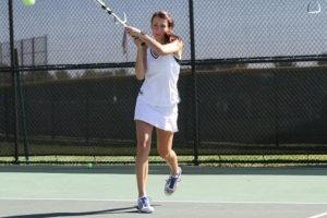Grace Kays, 12, was a first doubles player for the team. Even though her tennis career has come to an end, she still voluntarily participates in the morning condition. Along with the rest of her team, Kays is a dedicated athlete who has a lot of passion for the sport. Photo Courtesy of McDaniel's Photography.