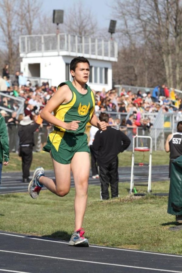 Drew Woodside, 10 running during the spring track season. That was the first meet of the season.  The track team had finished winter track 3 weeks before. Photo courtesy of McDaniel's Photography