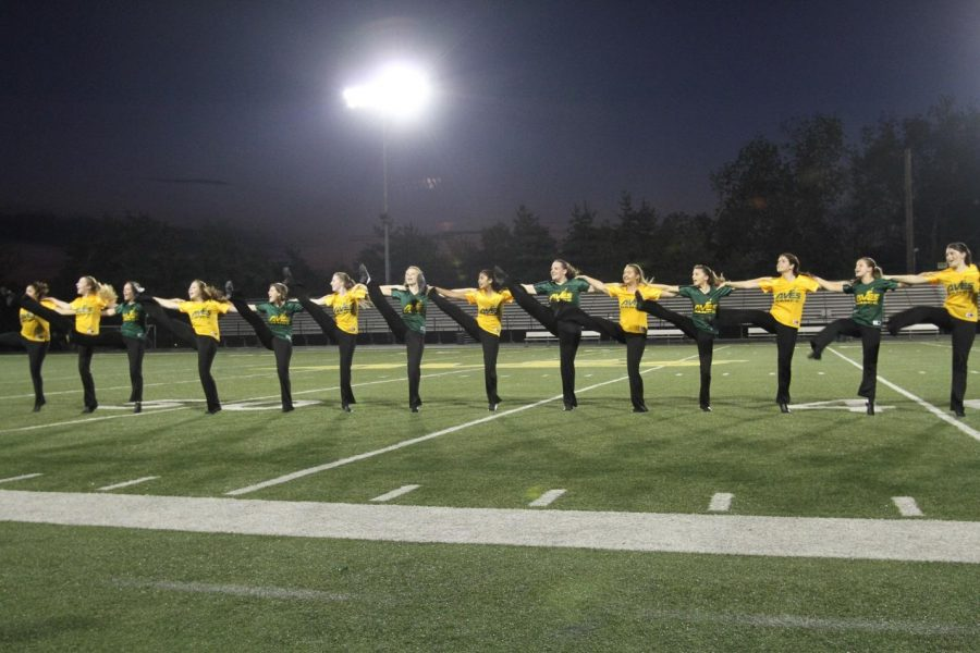The Flyerettes competed against other high school dance teams in the area. The team is hoping to make it to state in March. The girls have been working hard all season to prepare for these big events. Photo courtesy of McDabiel's Photography