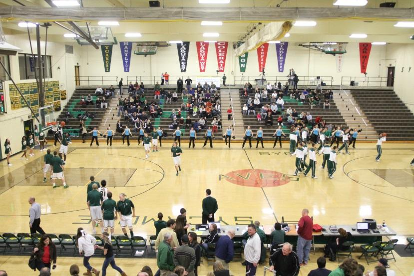 The Flyerettes at the boys' Varsity basketball game. The girls danced their pom routine during the pre-game and their hip hop during halftime. They performed along with the cheerleaders during halftime. Photo courtesy of McDaniel's Photography.