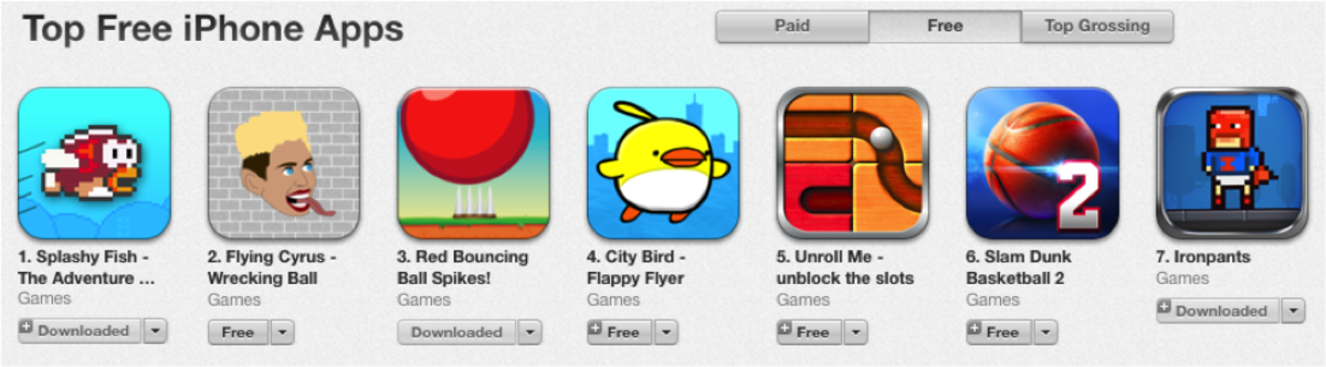 """Students at SHS have downloaded these games, which are """"knockoffs"""" of the popular hit, Flappy Bird. The game  was taken off the App Store by its creator.  According to CNN, Apple and Google will start to disallow these apps to be published, because so many developers are trying to get theirs to the top. """"No one will flap like Flappy again,"""" said Drake Huerman, 11. Photo by Alex Wittenbaum"""