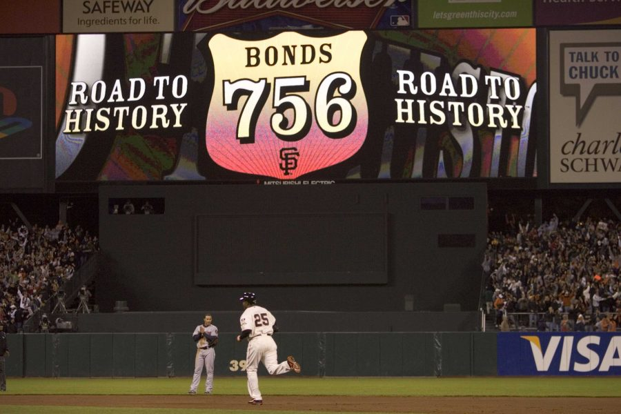 Barry Bonds rounds the bases after hitting home run number 756, breaking Hank Aaron's all-time home run record. The record is now believed to be tainted, as Bonds took performance-enhancing drugs throughout his career. Photo Credit: MCT Direct