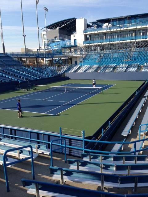 "Jacob Habib, 10, is playing on the second to largest stadium court in the park. This court is known as ""The Grand Stand,"" and has been played on by some of the top players in the world. This photo was taken on Tues., the nicest day of tryouts, with temperatures up to 72°. (IMAGE BY JACK LOON)"