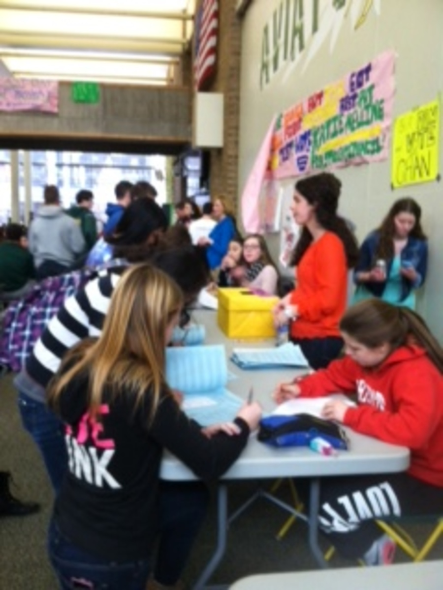 """The students got to vote at lunch on scan-trons this year as opposed to during English class like last year. """"It's nice that it was voluntary for kids to vote because then it was only people who actually care about the results,"""" said Madeleine Driscoll, 10.  Photo Courtesy of Elizabeth Rickert"""