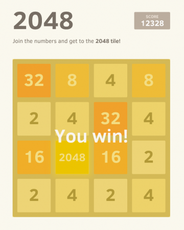 The popular app, 2048 has been sweeping the nation. It has climbed to number one on the iTunes top 100 free apps chart. You also can find the app at http://gabrielecirulli.github.io/2048/