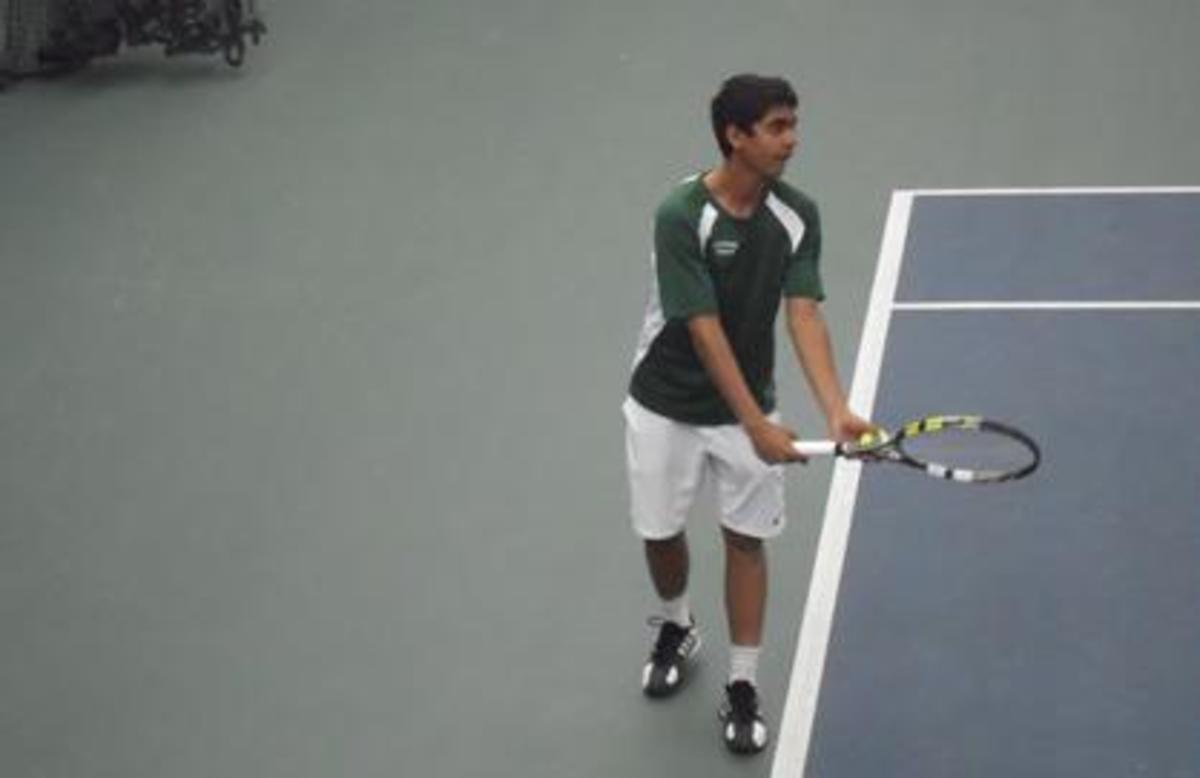 Deepak Indrakanti, 11, hits a serve at the first singles position. Photo courtesy of Joe Stern.