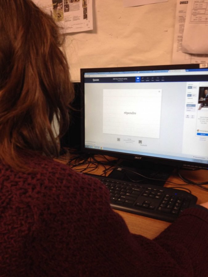 Many students use Quizlet rather than traditional flashcards. The sets created are accessible on computers, tablets, and smartphones. Quizlet is much easier because you can quickly type words and definitions up, and also share your sets with other people. I use it a lot to study for AP Psychology, said Jessica Hobart, 11. Photo courtesy of Atiya Dosani