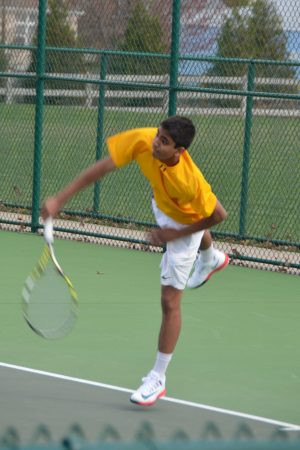 """Deepak Indrakanti, 11, closed out the match against Mason and Upper Arlington. """"I told myself to focus on playing my own game, and it eventually worked out in the end,"""" said Indrakanti. Photo courtesy of Fred Peck Photography."""