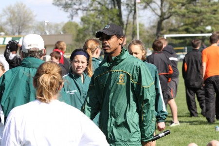 Coach Hank Ray at one of the meets at shs. Coach Ray has was awarded best coach in the gmcs last season. He is the sprinting coach for the track team. Photo courtesy of McDaniel's Photography.