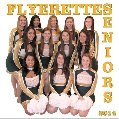 Flyerettes seniors: top row, left to right: Abby Kremchek, Rupali Jain, Jen Hill, Sam Weiss, and Megan Crone. Middle row: Gaby Godinez, Rachel Klein, Faith Kaufman and Carly Lefton. Bottom row: Kika Chatterjee, Lauren Altemuehle, and Katie Pruitt. The team is responsible for replacing 12 girls graduating. With only seven left they will take on a bigger leadership role. Photo courtesy of Ashley McNamara.