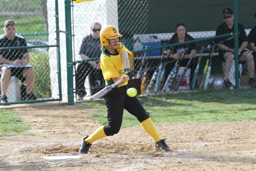 Hannah Melvin is a senior on the team and has come out as a leader. Not only with her fielding but with her batting to. Photo courtesy of McDaniel photography.