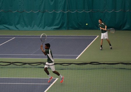 Nakul Narendran, 11, and Alex Taylor, 10 clinched the first two singles points. Then, both doubles teams won, clinching the victory for SHS. The match was played indoors due to rain at Mercy Fairfield Healthplex. Photo courtesy of Joe and Linda Stern.