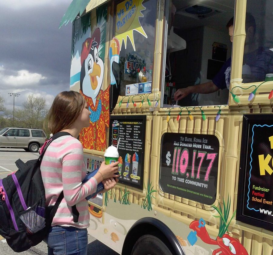 Kona snow cone truck visits after school