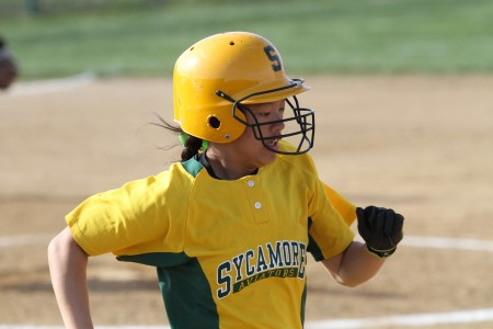 Hannah Melvin is a very important part of the softball team. Her great defense at second base it always solid. She also is one of the people helping get her batting up. Photo courtesy of McDaniel photography.