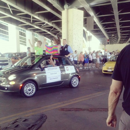 The parade began and ended under a bridge, where participants gathered and prepared. Some of the first vehicles held cross dressers, along with notable leaders and organizers. Hundreds of different companies and organizations were involved in the parade and festival.