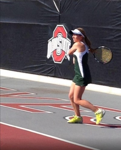 Junior Alexa Abele plays her first match in the final four of individual state. She is playing on the Ohio University tennis courts. Abele finishes a backhand cross court shot. (PHOTO CREDIT: MICHAEL TEETS)