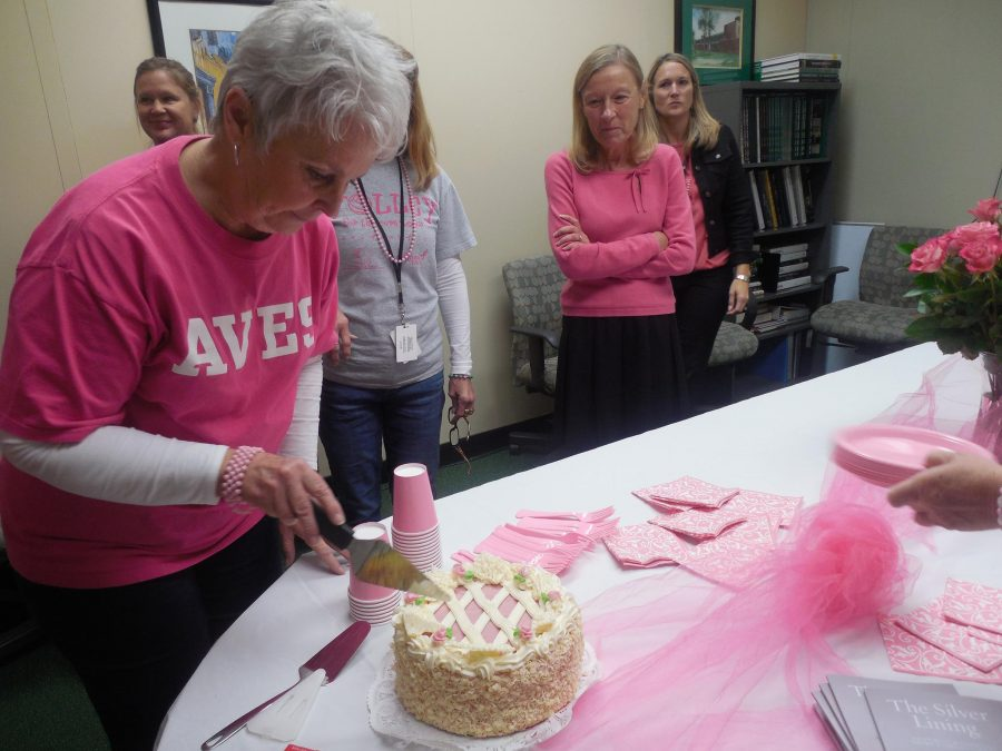 Dressed+in+pink%2C+SHS+counselors+celebrate+breast+cancer+awareness+month+with+cake+and+information+pamphlets.+This+reception+was+put+together+by+Mrs.+Robin+Wells-Kamp%2C+in+an+attempt+to+support+breast+cancer+patients+and+survivors%2C+and+raise+awareness+for+the+cause.+
