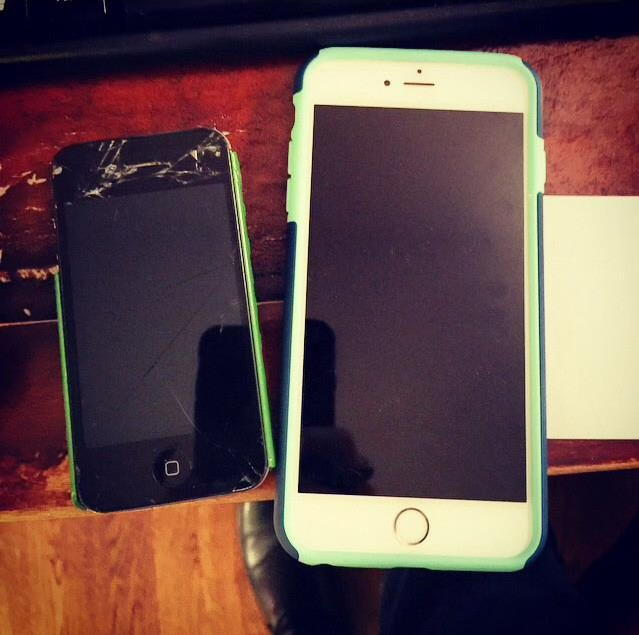 Everyone loves when they get a new phone. Junior Caroline Shor posted a photo of her iPhone 4 next to her new iPhone 6 Plus on Instagram. The iPhone 6 and 6 Plus have up to 128GB of storage, compared to the predecessors having up to 64GB. Photo from Caroline Shor