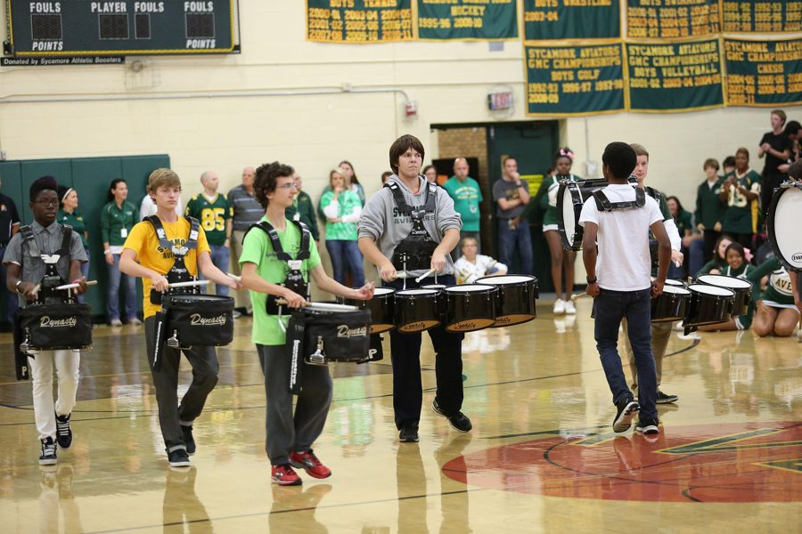 The+Sycamore+Drum+Line+performed+during+the+Pep+Rally+on+Oct.+10th.+These+were+one+of+many+successful+attempts+to+pump+up+the+crowd.++