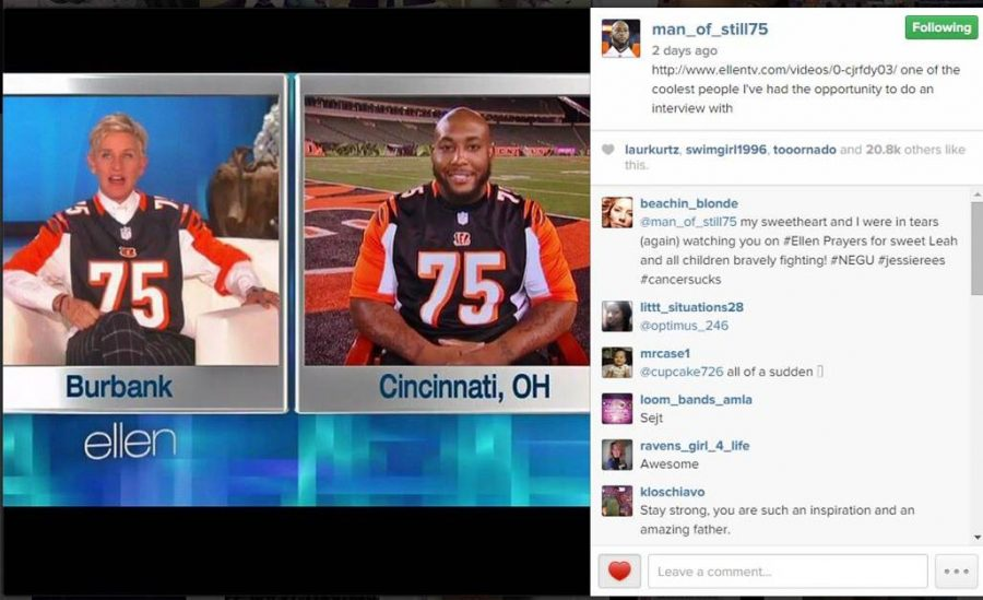 Bengals+player+Devon+Still+is+talking+on+The+Ellen+DeGeneres+Show+with+DeGeneres+on+Oct.+17.+Still%E2%80%99s+story+has+spread+across+the+country+as+his+daughter+is+battling+cancer.++His+jersey+has+been+sold+to+raise+cancer+awareness+and+money.+Taken+from+Devon+Still%E2%80%99s+Instagram.++