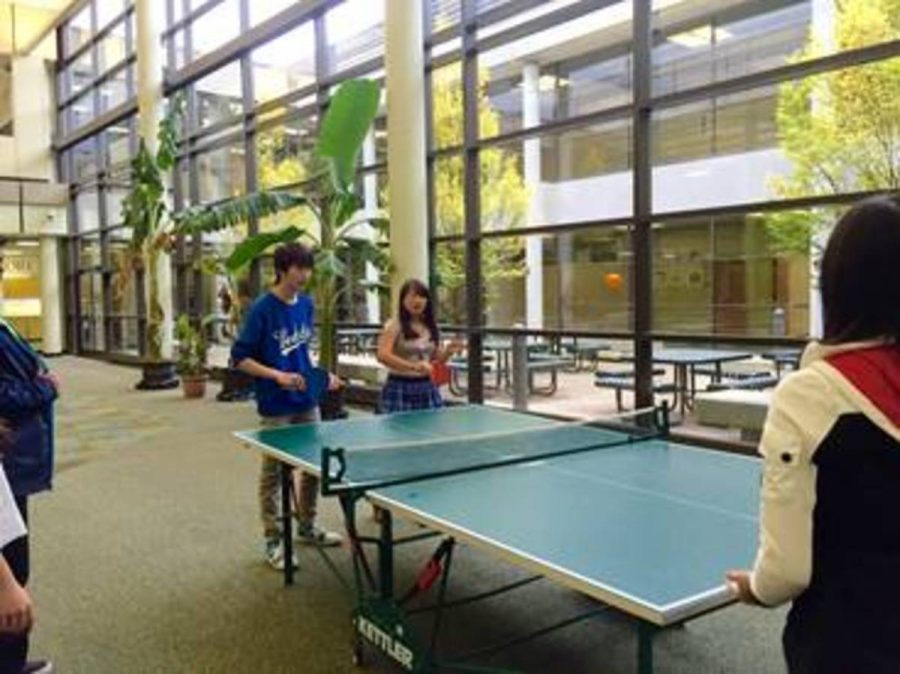 Ping-pong+club+met+in+the+commons+after+school+today.+They+pushed+aside+the+lunch+tables+and+compost+stations+to+set+up+three+tables+with+which+to+play.+The+club+is+home+to+beginners+and+advanced+players+and+last+week+they+played+with+U.C.+President+Santa+Ono+and+the+U.C.+Bearcat