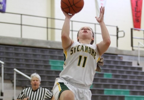 Junior Haley Rayburn makes a jump shot on the hoop. The hard work and dedication of the young athlete are beneficial for her to score. The countless hours in practice and the weight room pay of as she scores.