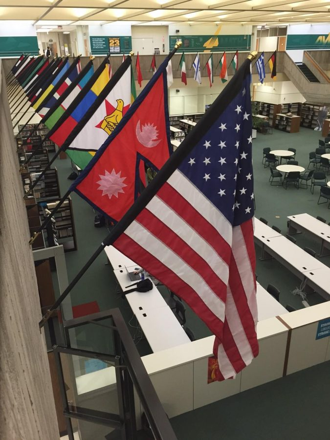 The+flags+have+been+returned+to+their+post+surrounding+the+IMC.+The+flags+had+been+missing+since+a+senior+prank+had+gone+wrong.+There+is+a+flag+for+every+country+represented+within+the+SHS+student+population.