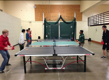 Members of the Ping Pong Club playing their choice activity. They are combining with Little Drops to have a fundraiser. Pictured is the newest ping pong table.