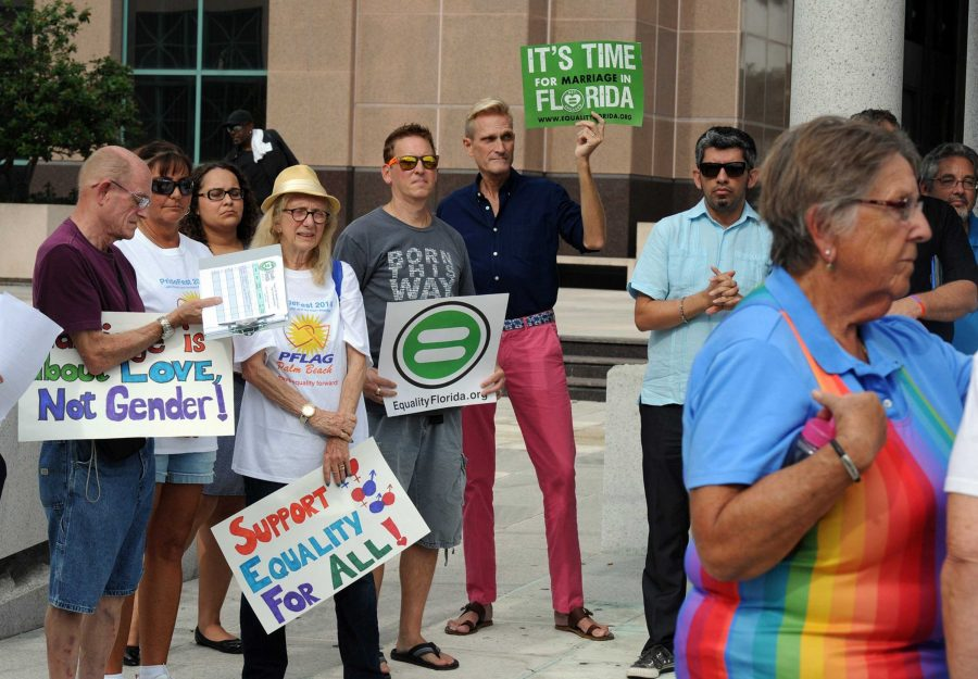 Protestors+gather+outside+a+Florida+courthouse+to+support+gay+marriage.+36+states+across+the+United+States+have+legalized+gay+marriage.+Many+states+have+obtained+gay+marriage+rights+due+to+the+Supreme+Court%E2%80%99s+decision+to+turn+down+a+case.+Photo+courtesy+of+MCT+Photo.